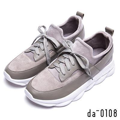 da0108 簡約樂活-牛皮拼接免綁帶休閒鞋-灰