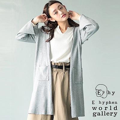 E hyphen 羅紋針織口袋長版罩衫