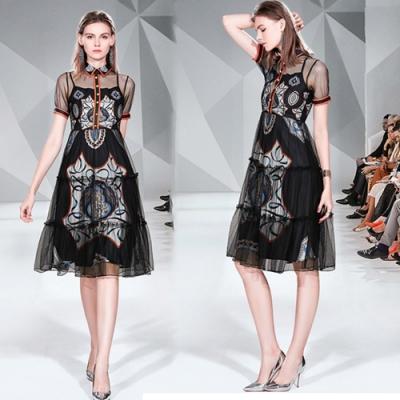 【KEITH-WILL】夏日氣質通勤網紗涼感印花洋裝