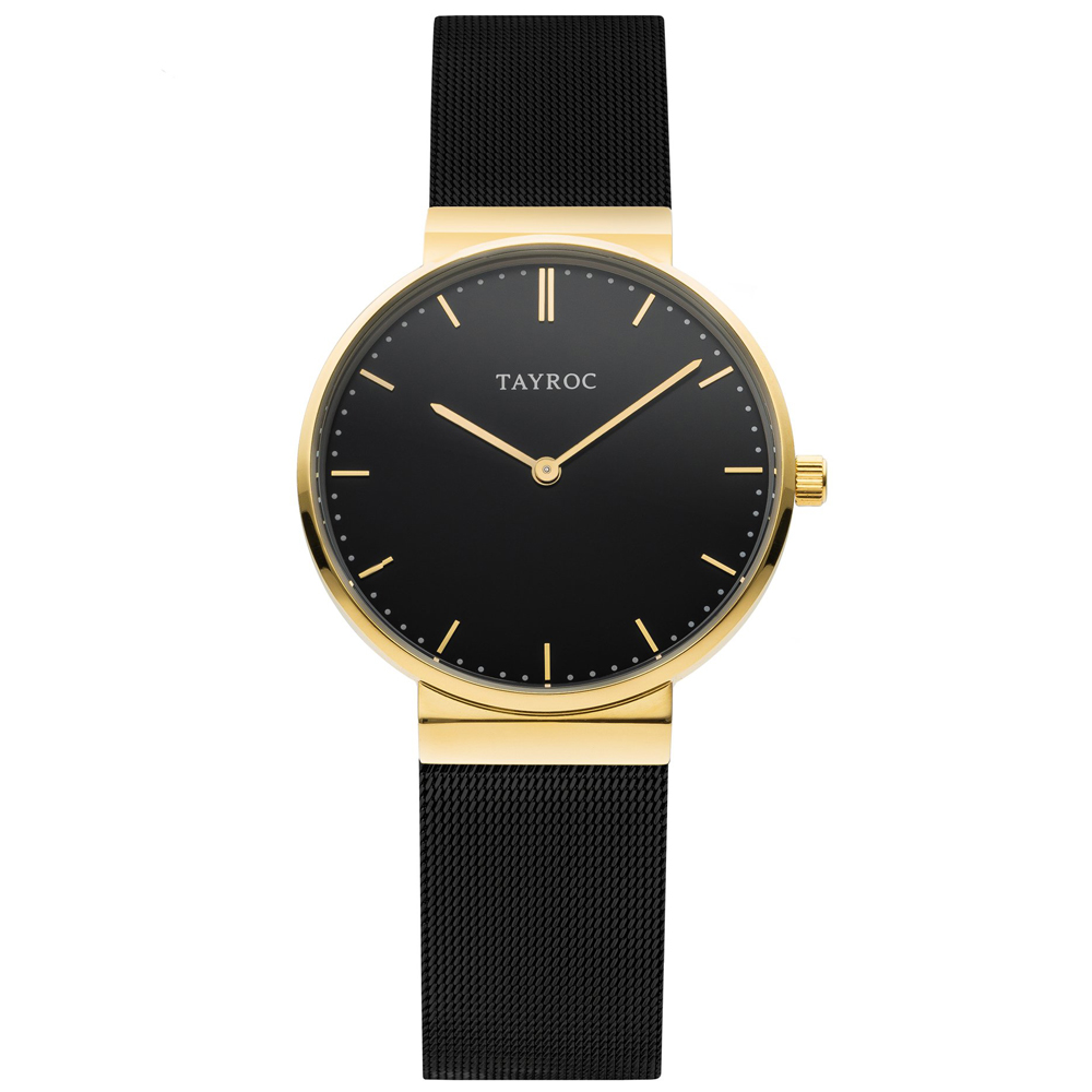 TAYROC 英式簡約時尚米蘭帶手錶-黑X金/40mm