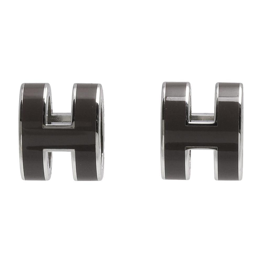 HERMES 經典POP立體H LOGO簍空橢圓穿式耳環(暗灰X銀)