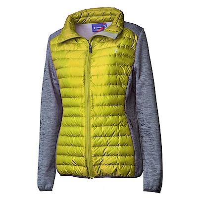 Wildland荒野女彈性針織拼接羽絨外套芥末綠