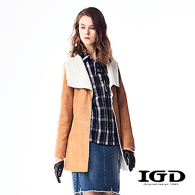 IGD英格麗 率性翻領麂皮內刷毛海大衣外套