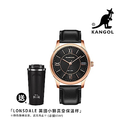 KANGOL 典雅羅馬時標腕錶38mm真皮錶帶(黑)-玫瑰金框 KG71338