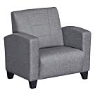 綠活居 雷夫時尚灰亞麻布紋皮革單人座沙發椅-80x76x81cm免組