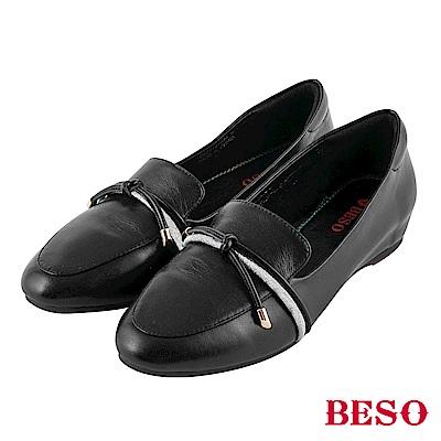 BESO 知性文青 綁繩內增高樂福鞋~黑