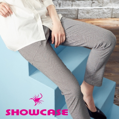 【SHOWCASE】俐落格紋拉鍊設計韓版九分褲(黑)