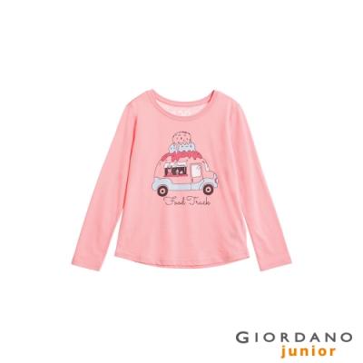 GIORDANO 童裝可愛手繪風印花長袖T恤-12 石英粉紅