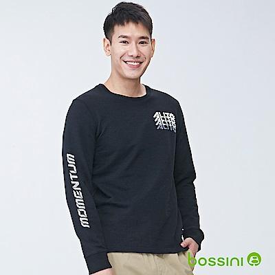 bossini男裝-圓領長袖運動衫05黑