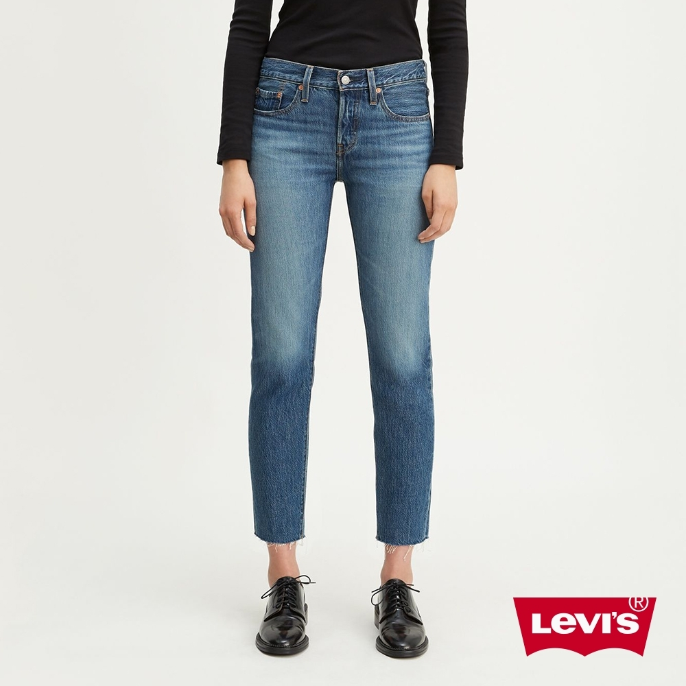 Levis 女款 上寬下窄 501Taper排釦牛仔褲 褲管不收邊 及踝款