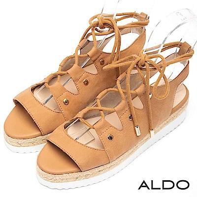 ALDO 原色真皮鞋面魚骨交叉綁帶繫踝厚底涼鞋~率性棕色