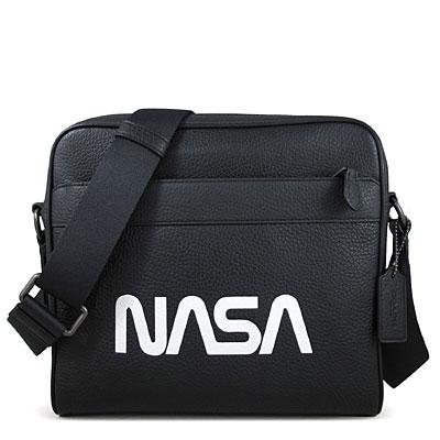 COACH 太空系列 NASA荔枝紋全皮革寬帶斜背方包(黑色)