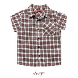 Annys英倫格紋翻領單邊造型口袋襯衫*9381紅