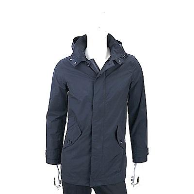Woolrich 防水材質深藍色連帽風衣外套(帽可拆)