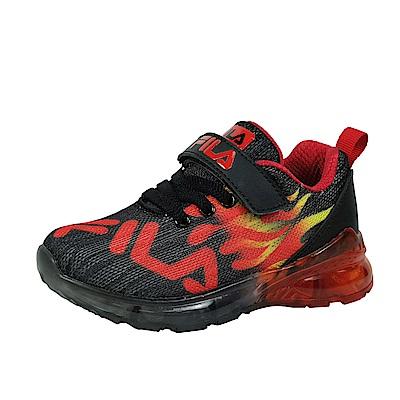 FILA 電燈運動鞋 黑紅 中童(4~6歲) 2-J825T-022