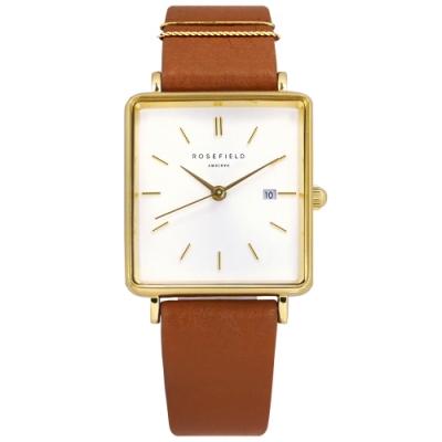 ROSEFIELD 簡約典雅 復古方形 真皮手錶-白x金框x褐 QSCG-Q029 26mm