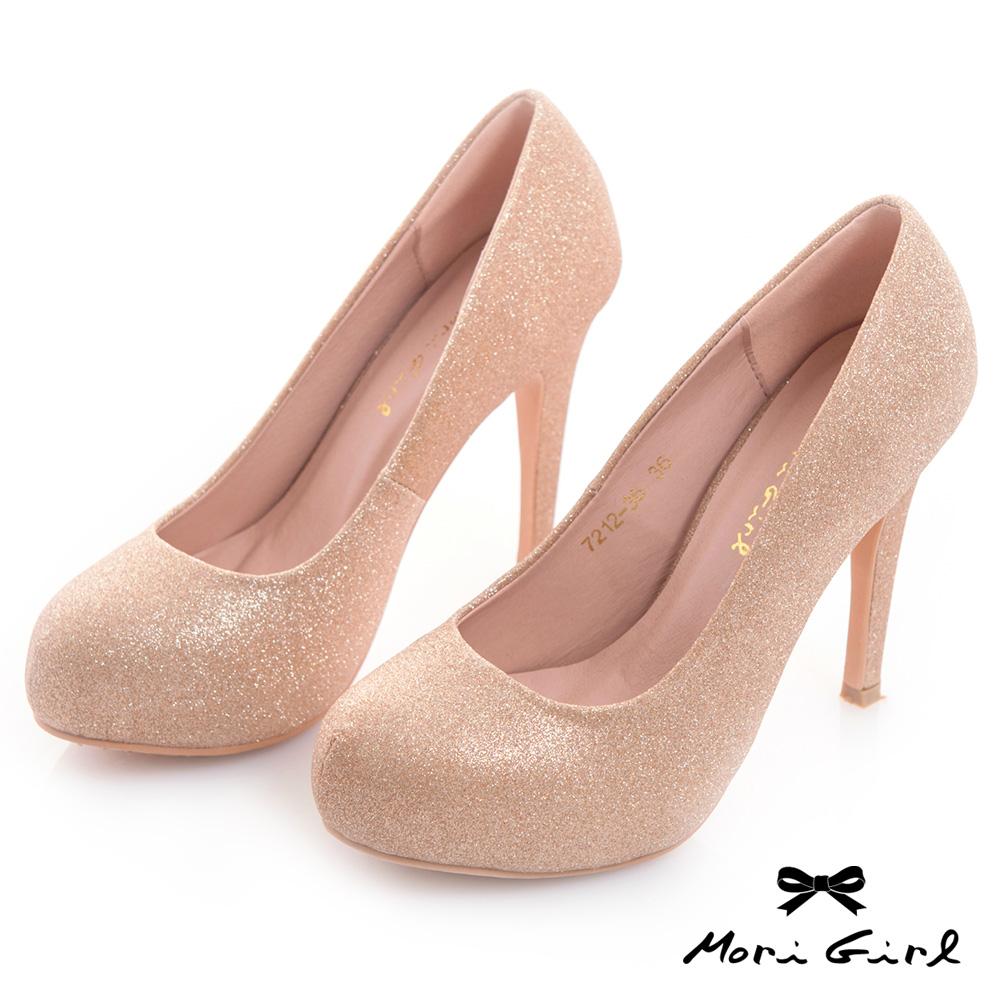 Mori girl 2WAY可拆式立體蝴蝶結亮片高跟婚鞋 金