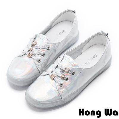 Hong Wa (偏小)時尚反光牛皮綁帶小白鞋 - 銀