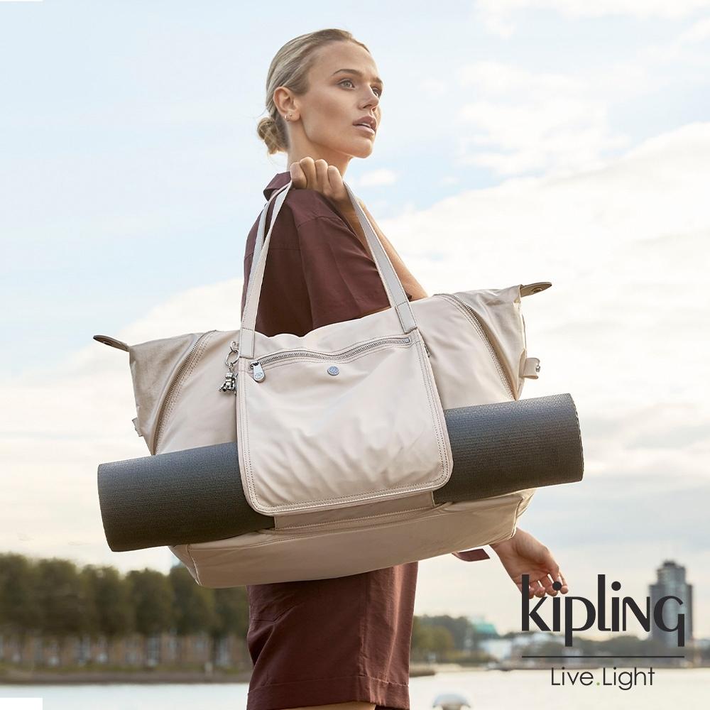 Kipling 雲朵象牙白實用多功能肩背包-WELLNESS ART M