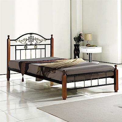 文創集 拉克特雙色3.5尺單人實木鋼床(不含床墊)-105x205x96cm免組
