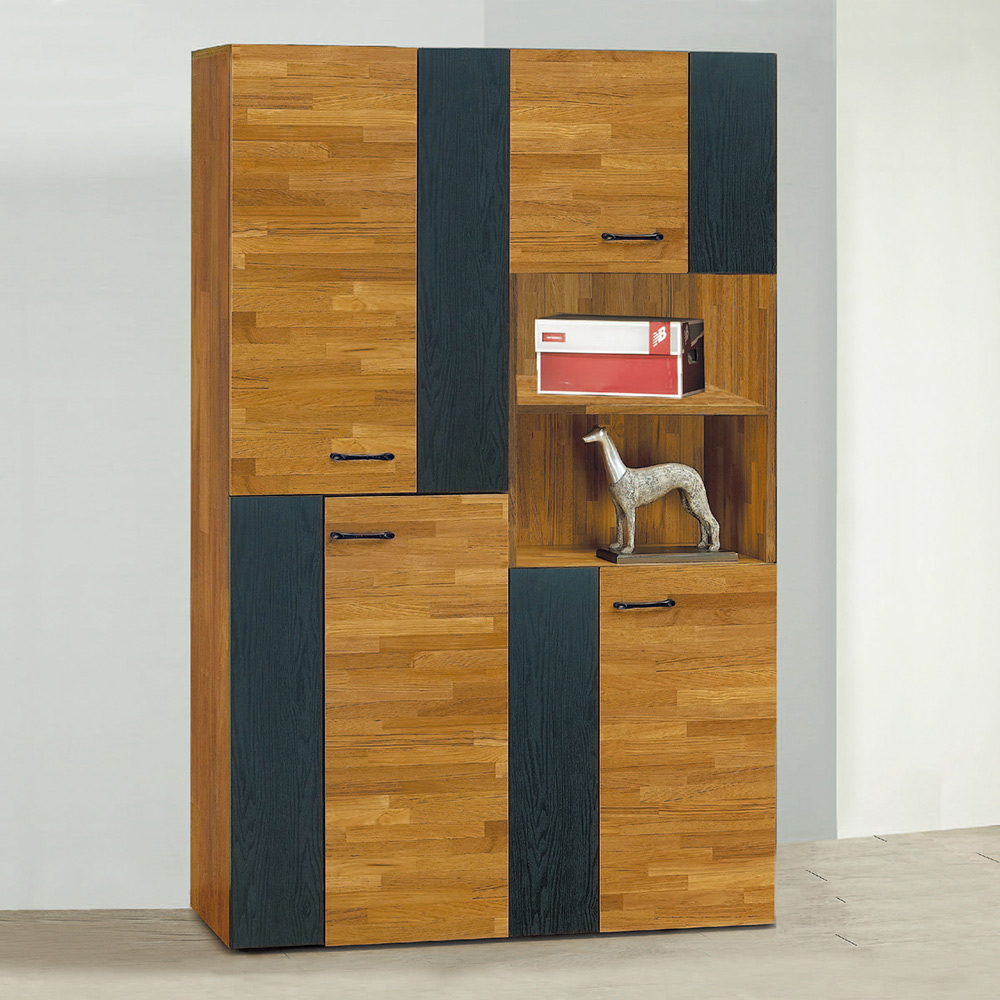 Bernice-斯亞4尺工業風高鞋櫃組合-120x32x182cm @ Y!購物