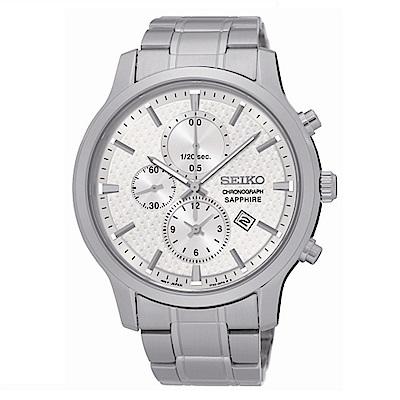 SEIKO CS極簡美學計時腕錶/銀白面/7T92-0TT0S