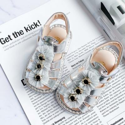 Swan天鵝童鞋-三朵小花寶寶涼鞋1594-銀