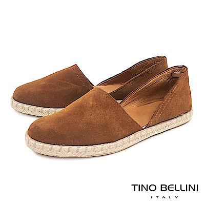 Tino Bellini 西班牙進口側鏤空平底麻編休閒鞋 _ 棕
