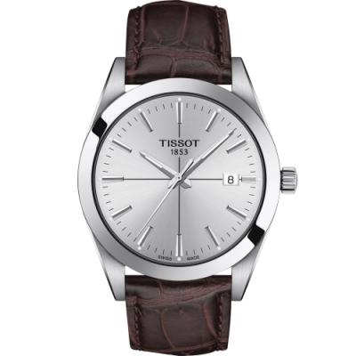 TISSOT 天梭 GENTLEMAN 經典紳士石英男錶(T1274101603101)40mm