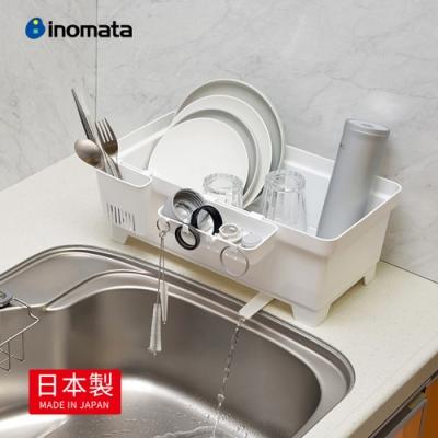 【日本製 INOMATA】多功能雙向碗盤筷瀝水籃(附分格盒)