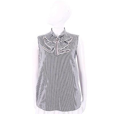 N° 21 黑白格紋荷葉抓褶領飾無袖上衣