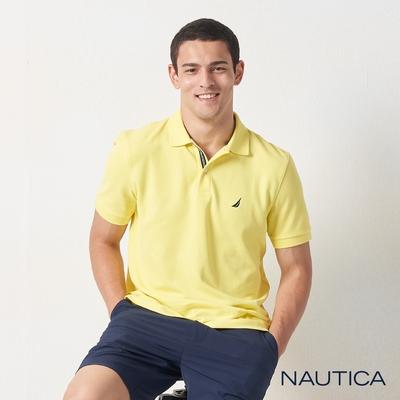 Nautica經典款素色短袖POLO衫-亮黃