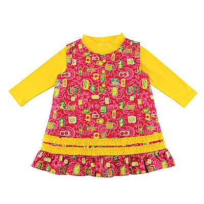 愛的世界 園藝女孩<b>2</b>件式背心裙長袖套裝