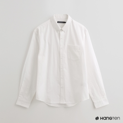 Hang Ten - 男裝 - 簡約素面棉質長袖襯衫 - 白