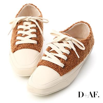 D+AF 小熊寶貝.泰迪熊毛毛方頭休閒鞋*棕