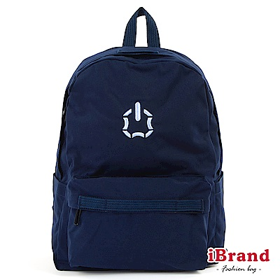 iBrand後背包 簡約素色輕旅行多功能後背包(大)-深藍色