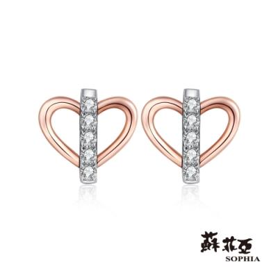 蘇菲亞 SOPHIA -一心一意雙色鑽石耳環