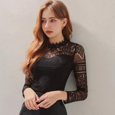 AIR SPACE 優雅蕾絲長袖上衣(附胸墊) (黑)