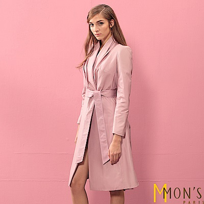 MONS 造型V領綁帶羊皮大衣/外套/皮衣