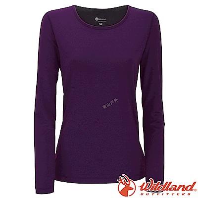 Wildland 荒野 W2653-79深紫 女遠紅外線保暖U領衛生衣