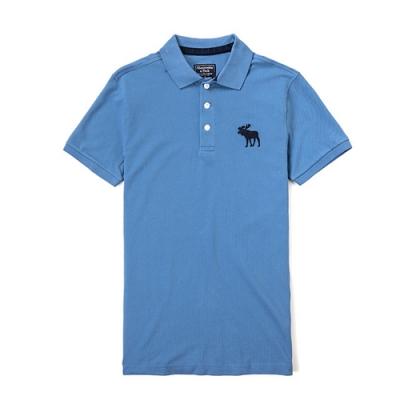 A&F 男款經典Logo刺繡麋鹿Polo衫(藍-S)