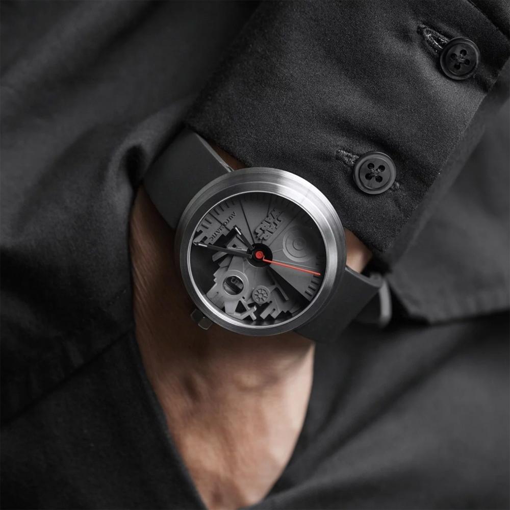 22四度空間水泥機械錶-黑武士白鋼款-45mm