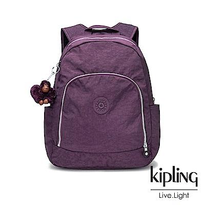 Kipling深紫素面前拉鍊後背包-CARMINE