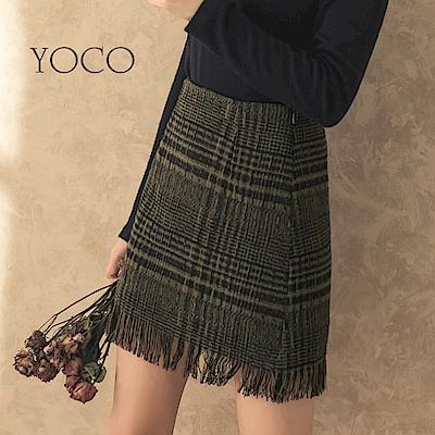 東京著衣-yoco 時尚摩登後拉鍊格紋毛尼流蘇短裙-S.M.L(共一色)