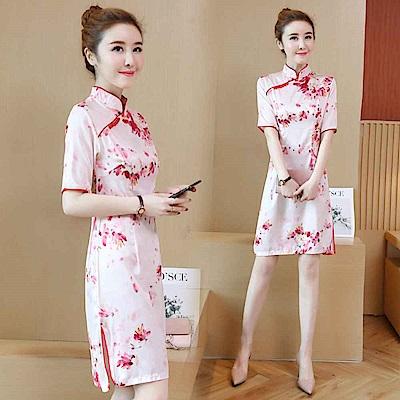 中國風國畫花卉印花洋裝M-3XL-REKO