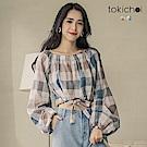 東京著衣 俏麗復古格子泡泡袖上衣-S.M(共二色)