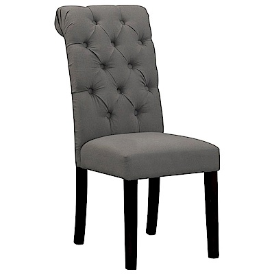 【AT HOME】現代簡約設計胡桃深灰布實木腳餐椅/休閒椅(43*68*98cm)艾娃