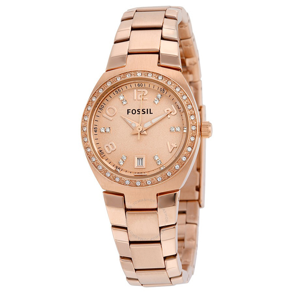 FOSSIL  溫柔玫金點鑽皇室風鋼帶石英女錶(AM4508)-玫金色x28mm