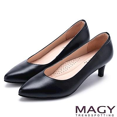 MAGY 簡約OL通勤款 素面通勤牛皮中跟鞋-黑色