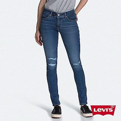 Levis 女款 Revel 中腰緊身提臀牛仔褲 超彈力塑形布料 刷破縫補